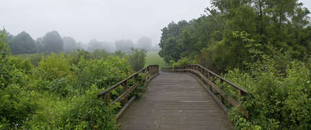 state park: A panoramic view of a wooden footbridge in Monmouth Battlefield State Park in New Jersey on a fogy Summer morning.