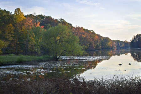 middlesex: A late afternoon view of the pond at this park in Middlesex County, NJ. Stock Photo
