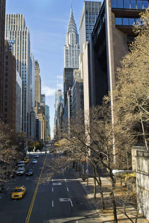 The view up 42nd St. from the East side of Manhattan.