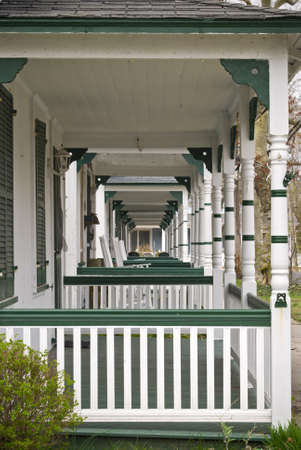 porches: A series of old fashioned porches in a row in Ocean Grove, New Jersey.
