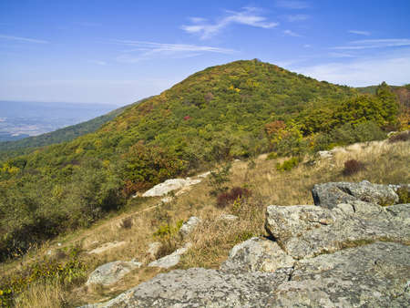 An early Autumn mountainside view in Shenandoah National Park in West Virginia. photo