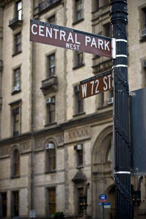 A street sign near the Dakota building on Central Park West in New York City.