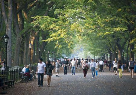 NEW YORK - 9 월 24 일 : 2010 년 9 월 24 일 미국 느릅 나무의 캐노피로 유명한 센트럴 파크 몰에서 아름 다운 늦은 여름 날입니다.