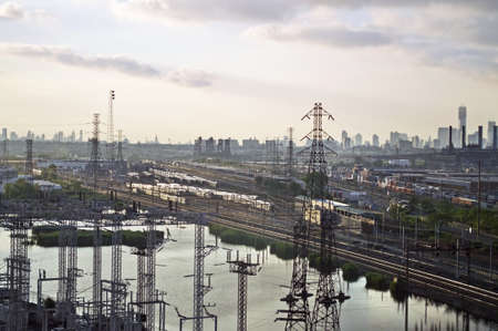 turnpike: An industrial view along the New Jersey Turnpike of the old train yards and electrical towers  Stock Photo