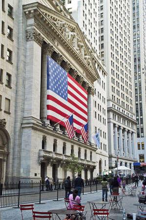 new york stock exchange: Stock Exchange View  NEW YORK - SEPTEMBER 24: Broad Street in lower Manhatttan and a view of the New York Stock Exchange on September 24,2012. Editorial