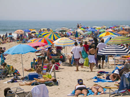 Crowded Beach A crowded beach scene along the Jersey shore.