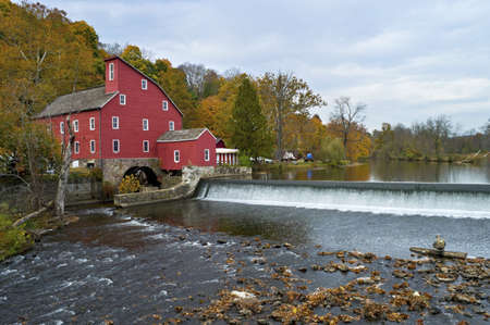 Red Mill View,  The historic Red Mill in Clinton Township in New Jersey on an overcast Autumn day.