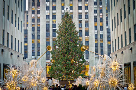 NEW YORK - NOVEMBER 30: Holiday Decorations and the Christmas tree in Rockefeller Center on November 30, 2012 in  New York City.