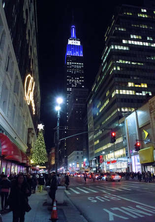 NEW YORK - DECEMBER 14: A view of the Empire State Building  from Herald Square as seen during the holidays on December 14, 2012 in New York City.