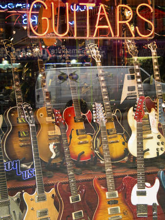 retail display: Guitar Store A guitar store window display in a music store in New York City.