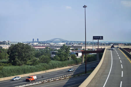 turnpike: BAYONNE, NEW JERSEYUSA - JUNE 21: A view of the NJ Turnpike on June 21, 2012 near Bayonne NJ. The NJ Turnpike is a major toll road in New Jersey which was built in 1951 Editorial