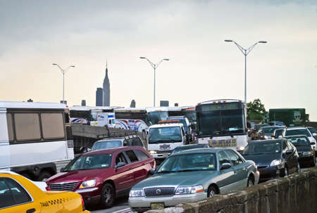 weehawken: WEEHAWKEN, NEW JERSEYUSA - JUNE 22: A traffic jam on the Helix leading to the Lincon Tunnel on June 22, 2012 in Weehawken, NJ. Plans are underway for reconstruction of the 70 year old highway. Editorial