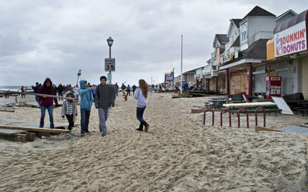 hurricane sandy: BELMAR, NEW JERSEYUSA – OCTOBER 30: Ocean Ave. full of sand the day after Hurricane Sandy on October 30 2012 in Belmar, NJ.