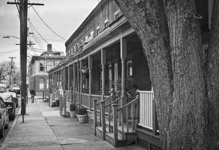 porches: Old row homes with porches in Boundbrook New Jersey.