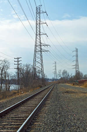 Train tracks and electrical power lines in Bound Brook, New Jersey.
