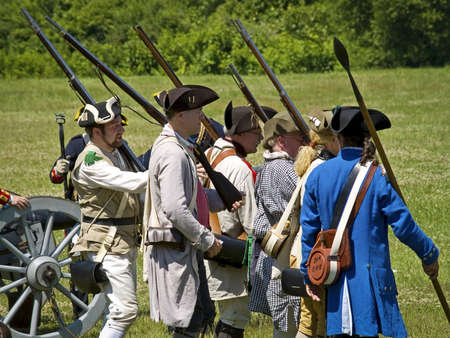 FREEHOLD, NEW JERSEYUSA – JUNE 23: The annual Battle of Monmouth reenactment at Monmouth Battlefield State Park on June 23 2007 in Freehold, New Jersey.