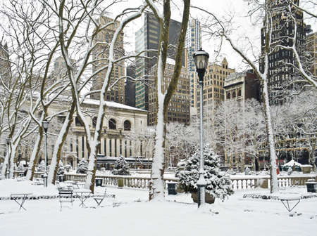 A Winter scene in Bryant Park in Manhattan after an early morning snow. photo