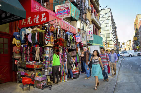 chinatown: A street view of China Town in New York City. Editorial