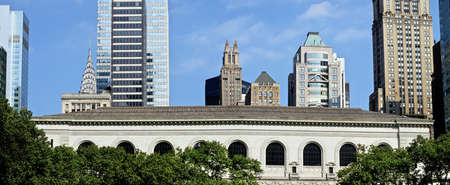 A Panoramic view of the New York City Public Library from Bryant Park.