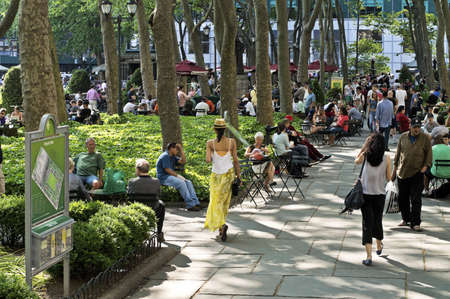 bryant: People enjoying a nice day in Bryant Park in Manhattan.