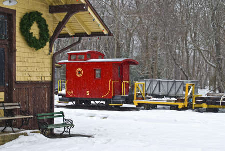 caboose: The Pine Creek Train Station at Allaire State Park during the snow in New Jersey. Editorial