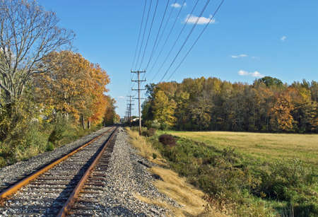 A rural Fall scene along the railroad tracks in Englishtown New Jersey  photo