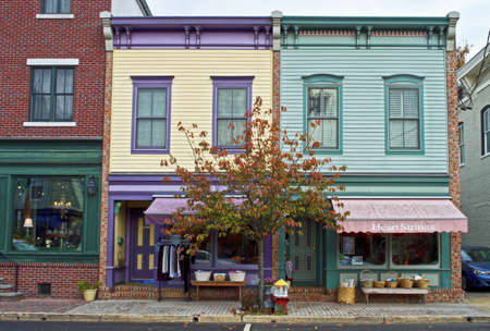 fronts: Colorful store fronts in the historic district of Clinton, New Jersey