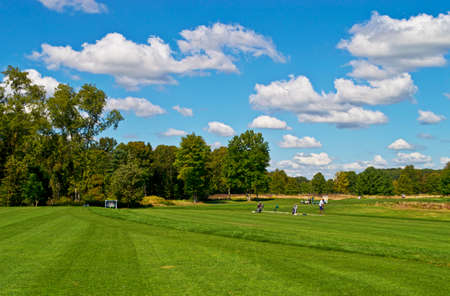 driving range: The driving range at Charleston Springs Golf course, part of the Monmouth County Parks system in New Jersey  Stock Photo