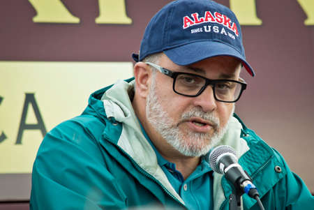 talk show: NEW EGYPT, NEW JERSEY USA – OCTOBER 12  Radio talk show host and best selling author Mark Levin at the Tea Party rally for Steve Lonegan on October 12 2013 in New Egypt New Jersey