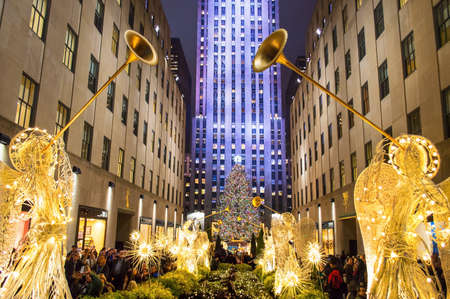 NEW YORK-DEC 5  Rockefeller Center all decorated surrounding the newly lit Christmas tree on December 5, 2013  Editorial