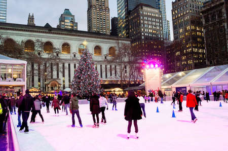 bryant park: NEW YORK-DEC 10  Ice skaters and tourists near the Christmas in Bryant Park on December 10, 2013 in Manhattan