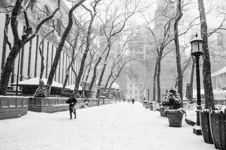 bryant park: Bryant Park in black and white during a recent snow storm  Stock Photo