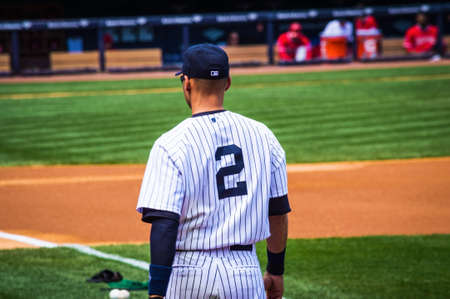 NEW YORK-APRIL 26  Derek Jeter before a game in his final season in baseball at Yankee Stadium on April 26 2014 in the Bronx  Derek Jeter has been the star shortstop for the NY Yankees for 19 seasons