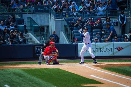 NEW YORK-APRIL 26  Derek Jeter at bat in his final season in baseball at Yankee Stadium on April 26 2014 in the Bronx  Derek Jeter has been the star shortstop for the NY Yankees for 19 seasons