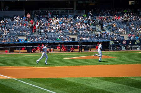 shortstop: NEW YORK-APRIL 26  Derek Jeter takes the field in his final season in baseball at Yankee Stadium on April 26 2014 in the Bronx  Derek Jeter has been the star shortstop for the NY Yankees for 19 seasons  Editorial