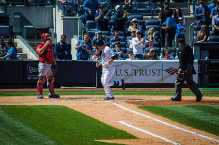 home run: NEW YORK-APRIL 26  John Ryan Murphy 22 year old Backup catcher for the NY Yankees crosses home plate after hitting his first major league home run April 26 2014 in Yankee Stadium in the Bronx