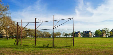 backstop: An old backstop and baseball field at Fort Hancock on Sandy Hook in New Jersey  Stock Photo