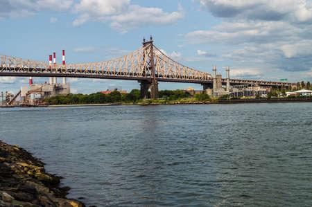 queensboro bridge: The Ed Koch Queensboro Bridge and power plants along the East River in Queens