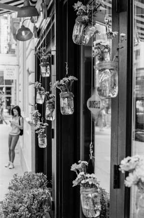 lower east side: A b w film photograph of a store front on 5th Ave on the lower East Side with hanging plants
