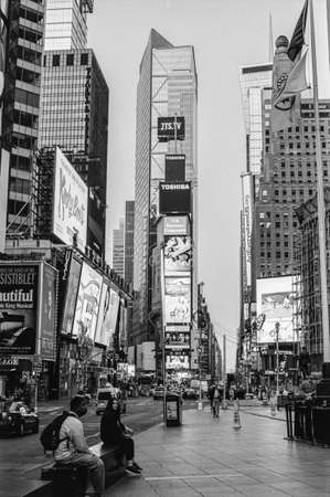 NEW YORK-AUGUST 8-A black and white film photograph look a Times Square very early morning on August 8 2014 in New York City