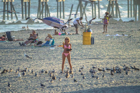 ATLANTIC CITY, NEW JERSEY/USA ?September 2: A woman in bikini on beach feeds a flock of seagulls in Atlantic City in New Jersey.