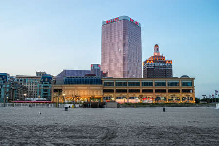 september 2: ATLANTIC CITY, NEW JERSEYUSA ?September 2: A quiet beach at dusk on September 2 2014 in Atlantic City after the closing of several casinos in the news. Editorial