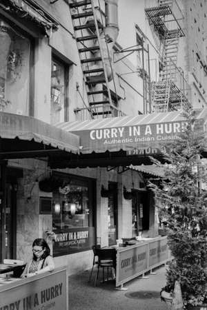 An Indian restaurant on the East side of Manhattan.