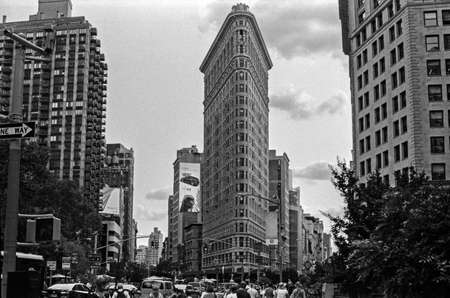flatiron: NEW YORK-AUGUST 8-A black and view of the Flatiron Building and district on August 8 2014 in New York City.
