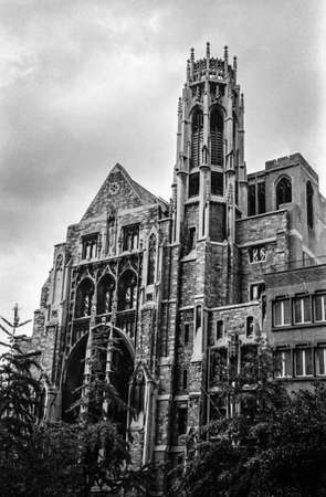 NEW YORK-SEPTEMBER 10-A black and white film photograph of the historic Central Presbyterian Church on September 10 2014 in New York City. The church was completed in 1922 and was originally the Park Ave.Baptist Church.