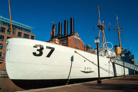 coast guard: BALTIMORE, MARYLAND-SEPTEMBER 27-The USCGC Taney in the Inner Harbor on September 27 2014 in Baltimore Maryland. The Coast Guard Cutter Taney was the last ship floating after the Pearl Harbor Attack. Editorial