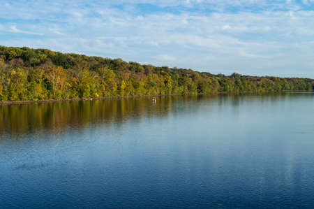 state park: A scenic view of the Delaware river in early Autumn near Washington Crossing State Park. Stock Photo