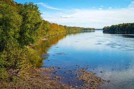 A view from the shoreline of the Delaware River at Washington Crossing in New Jersey. photo
