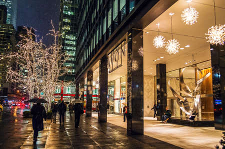 NEW YORK-DECEMBER 10: Holiday lights outside the corporate headquarters of Avon on Third Ave in Manhattan on December 10, 2014 in Manhattan.