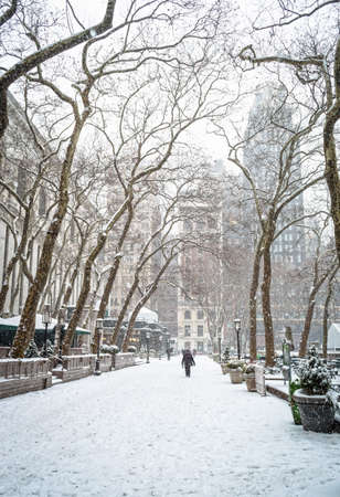Heavy snowfall in Bryant Park in New York City. Stok Fotoğraf